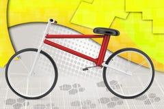 3d con el ejemplo de la bici del truco Imágenes de archivo libres de regalías