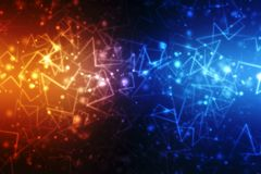 2d conceito da comunidade da rede da ilustração Meios mistos, conceito da conexão de rede Fotos de Stock