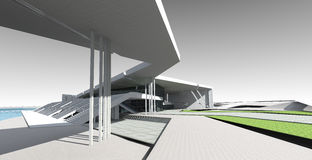 3D concept of building. Perspective 3D render of sports building Royalty Free Stock Photography