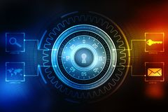 2d concept de sécurité d'illustration : Cadenas fermé sur le fond numérique, fond de sécurité d'Internet Photographie stock libre de droits