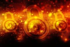 2d concept de sécurité d'illustration : Cadenas fermé sur le fond numérique, fond de sécurité d'Internet Photo libre de droits