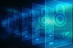 2d concept de sécurité d'illustration : Cadenas fermé sur le fond numérique, fond de sécurité d'Internet Photos stock
