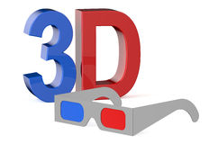 3D concept with glasses Royalty Free Stock Photos