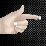 3d concept grows from the finger stick on a transparent background. Stock Photos