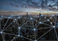 3D concept illustration of wireless communication network in smart city stock photo