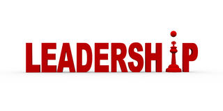 3d concept of leadership. 3d illustration of kind chess piece between word leadership Stock Photo