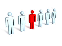 3d concept of leadership teamwork. red different person Royalty Free Stock Image