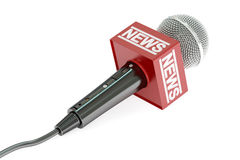 3D concept microphone news. Microphone news, 3D rendering on white background Royalty Free Stock Photo