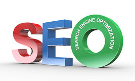 3d concept of seo. 3d illustration of presentation of seo - search engine optimization Royalty Free Stock Photos