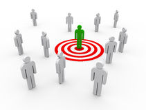 3d concept of targeting buyer. 3d illustration of man on target. concept of targeting buyers and customers Royalty Free Stock Photos