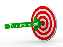 3d concept of true achievement. 3d illustration of arrow with texte true achievemen hitting target perfectly Royalty Free Stock Photos