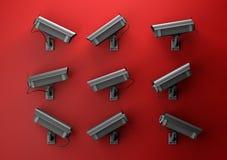 3d concept van de illustratieprivacy met toezichtcamera's Royalty-vrije Stock Fotografie