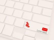 3d concept van de liefdepost, geeft toetsenbord terug Royalty-vrije Stock Afbeelding
