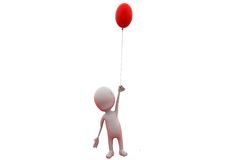 3d concept van de mensen enige ballon Royalty-vrije Stock Foto