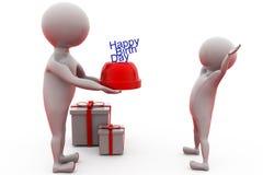 3d concept van de mensen gelukkige verjaardag Stock Afbeelding