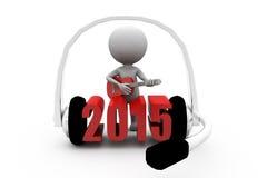 3d concept van de mensen 2015 hoofdtelefoon Stock Afbeelding