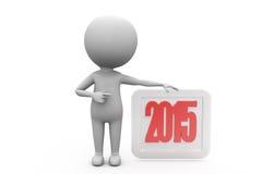 3d concept van de mensen 2015 raad Royalty-vrije Stock Foto's