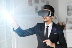 3d concept van de visietechnologie, virtuele glazen Stock Fotografie