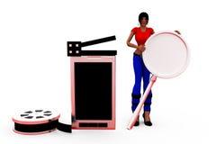 3d concept van de vrouwenbioskoop Royalty-vrije Stock Afbeelding