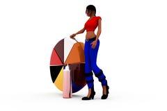 3d concept van de vrouwengrafiek Stock Foto's