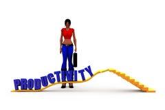 3d concept van de vrouwenproductiviteit Stock Foto
