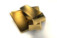 3d concept van goudstaven Stock Afbeelding