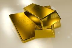 3d concept van goudstaven Stock Foto