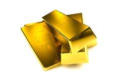 3d concept van goudstaven Stock Afbeeldingen