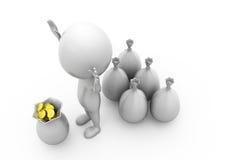 3d concept van het mensengeld Stock Afbeeldingen