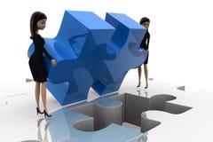 3d concept van het vrouwen laatste raadsel Royalty-vrije Stock Foto