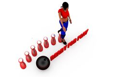 3d concept van het vrouwenspel Stock Foto