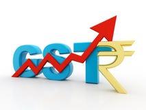 3d Concept van India van de Illustratiegst Belasting op witte achtergrond wordt geïsoleerd die Stock Foto