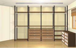 3d conception intérieure, vestiaire moderne spacieux Images libres de droits