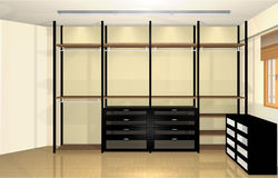 3d conception intérieure, vestiaire moderne spacieux Images stock