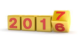 3d - concepto 2017 - cubos del Año Nuevo - oro Fotos de archivo libres de regalías