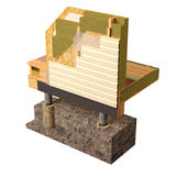 3d Conceptual image of insulation and building construction frame house. Three-dimensional image of the concept of building a frame house. Fragment of wall Stock Photography