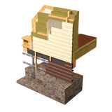 3d Conceptual image of insulation and building construction frame house. Three-dimensional image of the concept of building a frame house. Fragment of wall Stock Photo