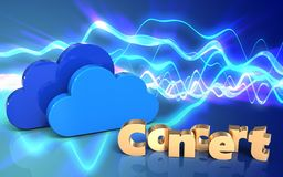 3d concert sign clouds. 3d illustration of clouds over sound waves blue background with concert sign Royalty Free Stock Photo