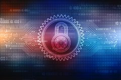 2d concetto di sicurezza dell'illustrazione: Lucchetto chiuso su fondo digitale, fondo di sicurezza di Internet Fotografie Stock