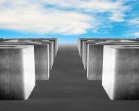 3D concreet labyrint met hemelachtergrond Stock Foto's