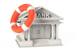 3d concrete Bank Building with Lifebuoy. On a white background Royalty Free Stock Photo