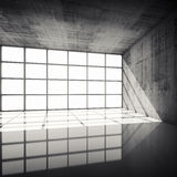 3d concrete interior with bright windows in modern frames Stock Images
