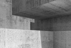 3d concrete interior with geometric shapes Royalty Free Stock Photos