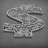 3d concrete money shape maze Stock Images