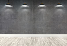 3d concrete  room with ceiling lamps Royalty Free Stock Photo