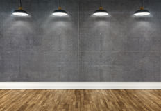 3d concrete  room with ceiling lamps Royalty Free Stock Photos