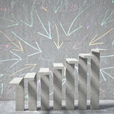 3d concrete step. Arrow background of concrete stair Royalty Free Stock Image