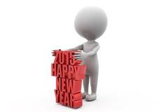 3d conecept Нового Года человека 2015 счастливое Стоковые Фотографии RF