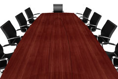 3d conference table and leather seats Stock Photos