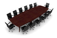 3d conference table and leather seats Royalty Free Stock Photo